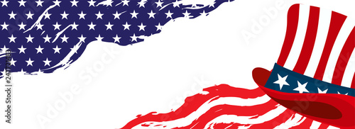 Valokuva  American flag pattern header or banner design with uncle sam hat and space for your message