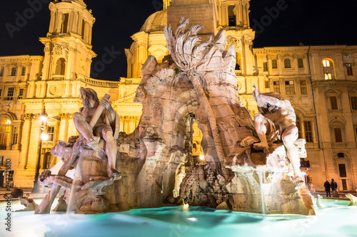 Fotografie, Obraz  Fountain of the the Piazza Navona at night in Rome, Italy