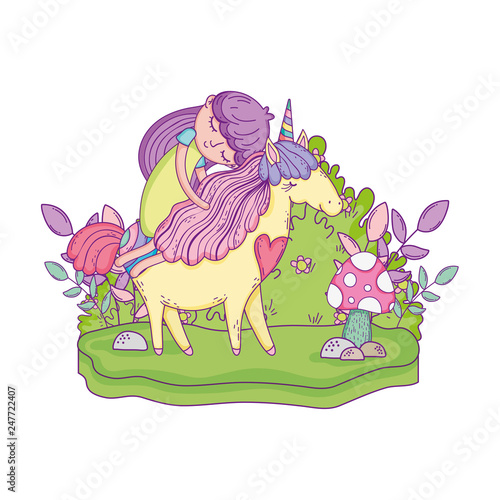 Deurstickers Dinosaurs beautiful little unicorn with princess in the landscape