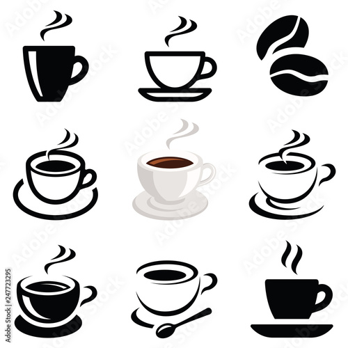 Valokuva Coffee icon collection - vector outline illustration and silhouette
