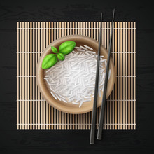 Vector Illustration Of Bowl Full Of Rice Grains And Basil With Chopsticks On Bamboo Mat