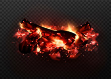 Design Of Realistic Glowing Bonfire With Charcoals And Fire Flames. Vector Illustration Of Campfire Isolated On Transparent Background