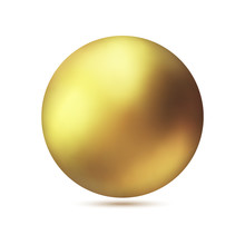 Realistic Gold Metal Sphere, V...