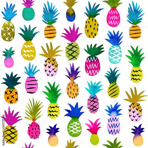 Jednolity wzór akwarela z ręcznie malowane akwarela tropikalne ananasy. Śliczni hawajczyków ananasy na białym tle.