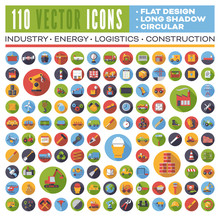 Set Of 110 Flat Design Long Shadow Round Vector Icons For Web, Print, Apps, Interface Design: Industry, Energy, Construction, Logistics And Transport