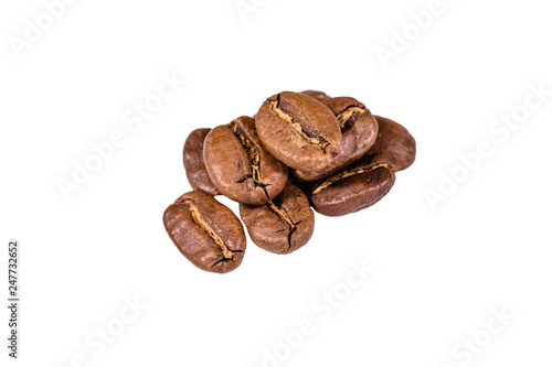Fotobehang koffiebar Pile of the coffee beans isolated on a white background