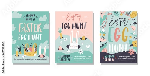 Easter egg hunt poster or invitation template Canvas Print