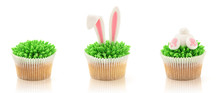 Easter Cupcakes Isolated On Wh...