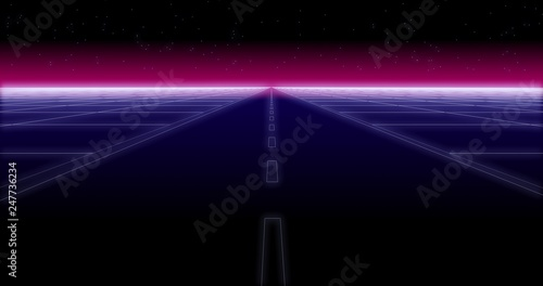 synthwave road and stars Retro Background 3d render - Buy this stock