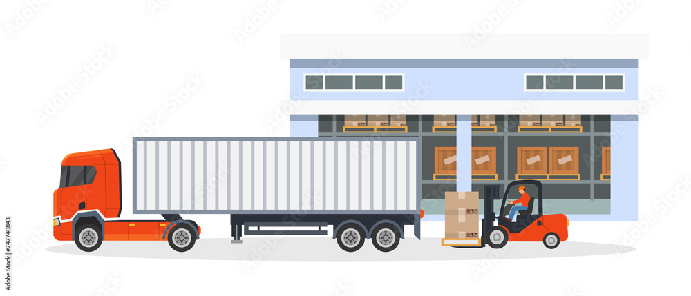 Fototapeta Transportation, logistic delivery of trucks on large van truck.