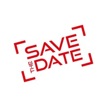 Red Save The Date Icon, Sign, Stamp Or Button