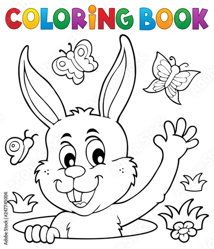 Door stickers For Kids Coloring book lurking Easter bunny