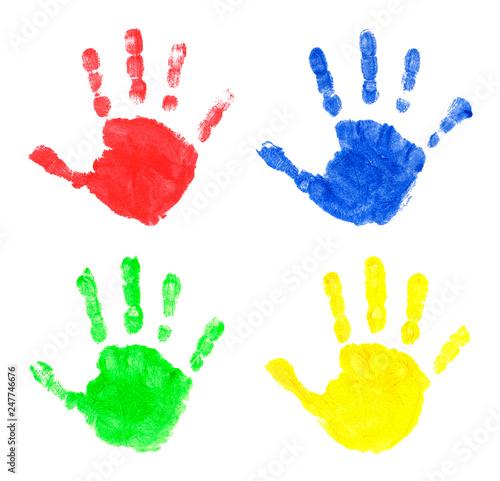 Vászonkép  Set of multi-colored prints of children's palms