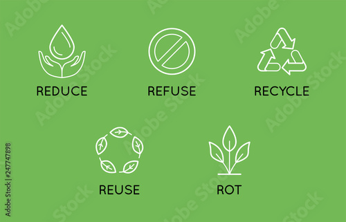 Valokuva  Vector set of linear simple icons - zero waste concept - 5 principles of sustain