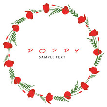 Wreath Of Stems, Leaves And Flowers Of Poppy Isolated On White Background