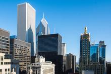 Chicago Skyline. Chicago Downtown Skyline At Dusk.