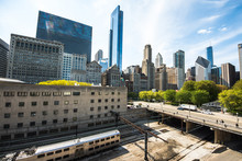 Chicago, IL - 10 May 2017: Downtown Chicago Cityscape Of Millenium Park