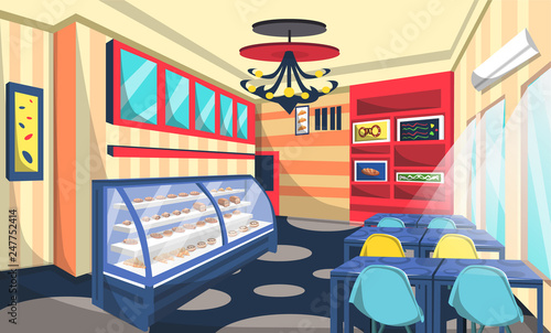 Bakery Shop Room With Cake On Etalase Ceiling Lamps Blue Table Artistic Wall Picture Modern Style For Vector Restaurant Interior Ideas Buy This Stock Vector And Explore Similar Vectors At Adobe
