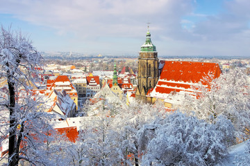 Pirna im Winter - the town Pirna in Winter with snow
