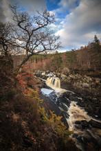 Black Water River In Scottish Highlands, Rogie Falls Near Tarvie.