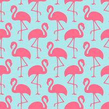 Muster Flamingos & Wellen Naht...