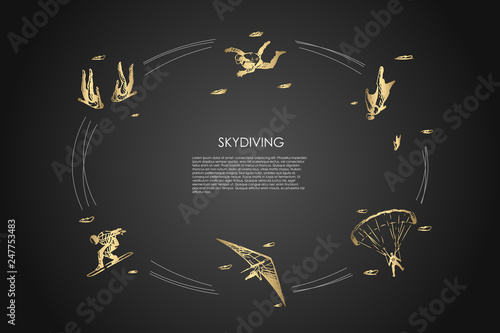 Fotografia Skydiving - people in air jumping with parachute and skydiving vector concept se