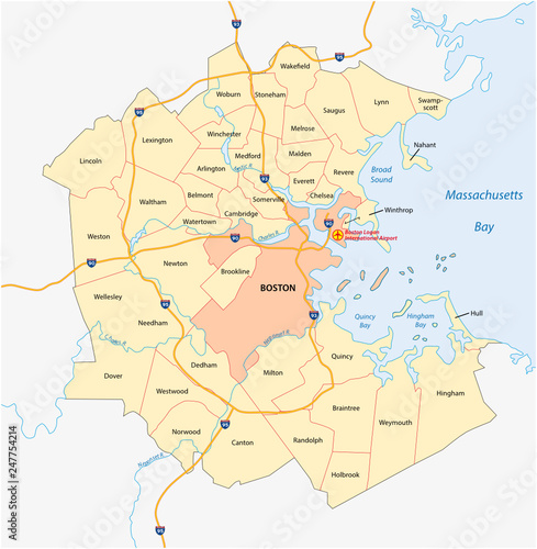 vector map of the Greater Boston metropolitan region ...