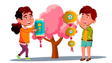Asian Little Boy And Girl Hanging Chinese Red Lantern On Tree Vector. Isolated Illustration
