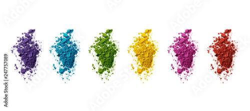 Fotografering  Palette de couleurs maquillage fards à paupières sur fond blanc
