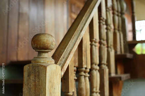 wooden balustrade and banister carve design of staircase Wallpaper Mural