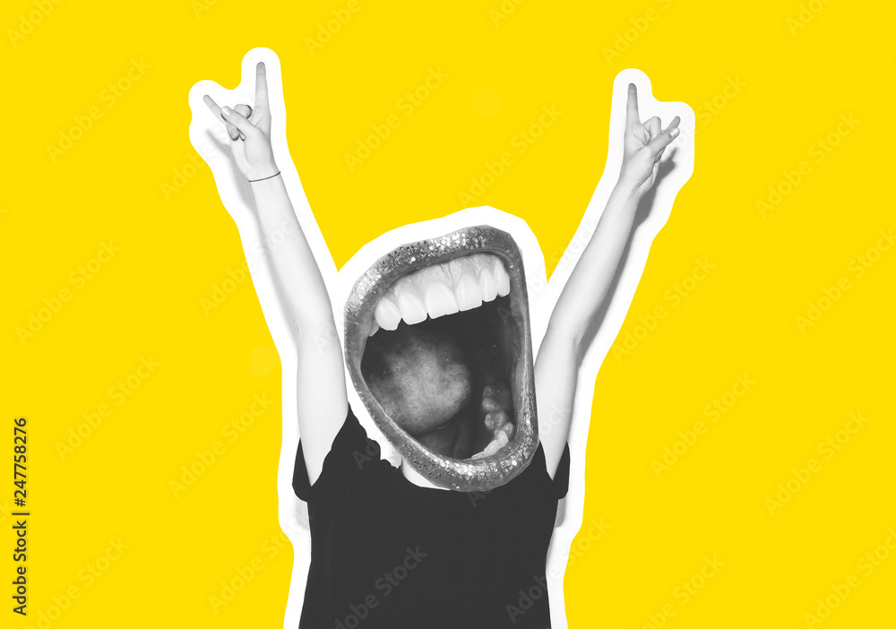 Fototapety, obrazy: Stylish fashion blonde with short hair colorful collage. Crazy girl in a black t-shirt and rock sunglasses scream holding her head. Rocky emotional woman. white toned. yellow background, not isolated