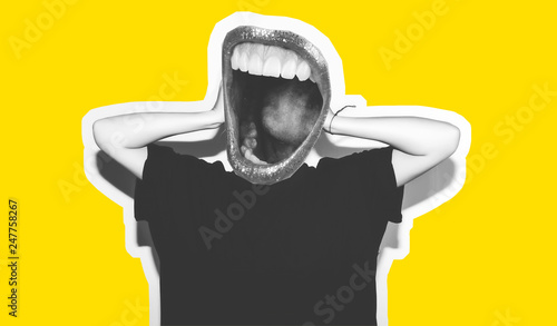 Stylish fashion blonde with short hair colorful collage. Crazy girl in a black t-shirt and rock sunglasses scream holding her head. Rocky emotional woman. white toned. yellow background, not isolated - 247758267