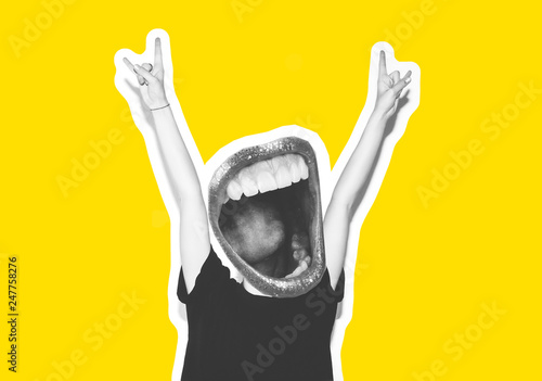 Stylish fashion blonde with short hair colorful collage. Crazy girl in a black t-shirt and rock sunglasses scream holding her head. Rocky emotional woman. white toned. yellow background, not isolated - 247758276
