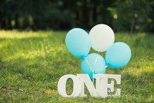 Green Lawn In Summer Park Decorated With Blue And White Decor For First Baby Boy Birthday Celebration. Word One And Balloons Standing On Grass. Horizontal Color Photography.