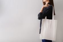 Woman With Blank Bag For Brand...