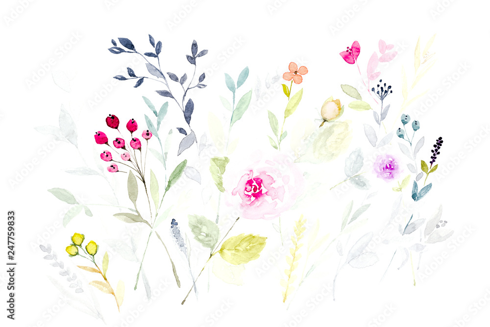 Watercolor painting of leaves and flower.