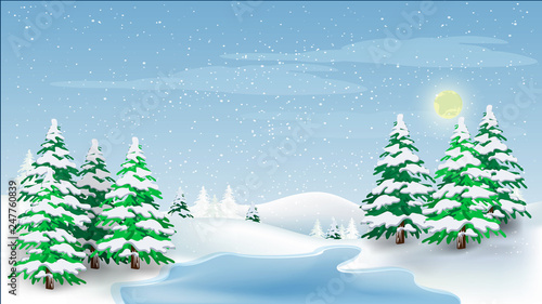 Recess Fitting Blue sky Beautiful panorama winter landscape with snow on the trees in the mountains, vector