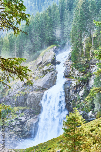 The Krimml Waterfalls / total height of 380 metres (1,247 feet) / the highest waterfall in Austria - 247761449
