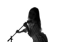 Silhouette Of Female Singer On White Background