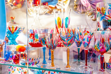 Colorful Decorated Objects Made Of A Famous Murano Glass In A Shop Window In Venice