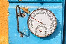 Barometer, Thermometer And Hygrometer Outdoors. Sea Weather Concept