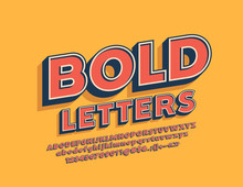 Vector Retro Bold Alphabet Set. Rotated Stylish Font. Vintage Letters, Numbers And Symbols.