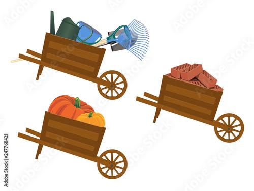 Wheelbarrow. Vector illustration. Isolated on a white background. Fototapet