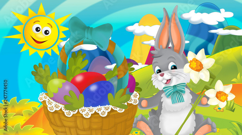 Poster Oiseaux, Abeilles cartoon happy easter rabbit with basket full of eggs with beautiful flowers on nature spring background - illustration for children