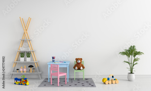 Photo  Table and chair in white child room for mockup, 3D rendering