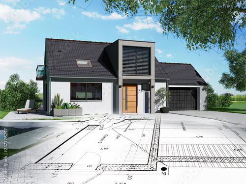 Obraz Projet de construction d'une maison individuelle - fototapety do salonu