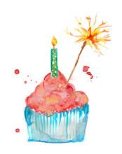 Cupcake Watercolor Pink Painti...