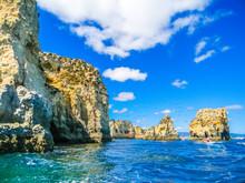 Rock Formations In The Beautiful Beach Of Praia Dona Ana, Lagos, Algarve, Portugal
