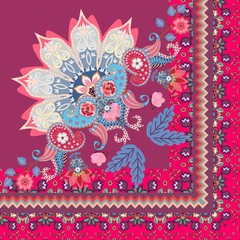 Quarter of shawl or carpet in ethnic style. Half of mandala, paisley ornament and decorative border with tulips flowers in vector.