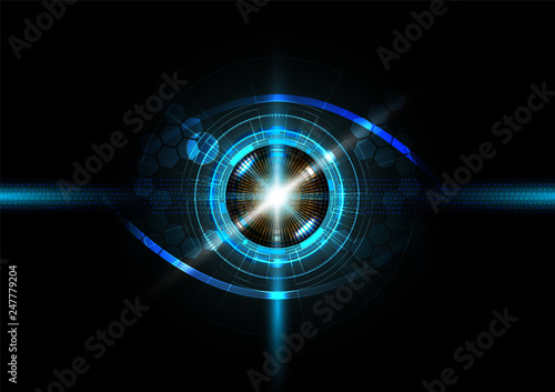 Obraz Futuristic eye detection technology concept with binary code vector illustration - fototapety do salonu